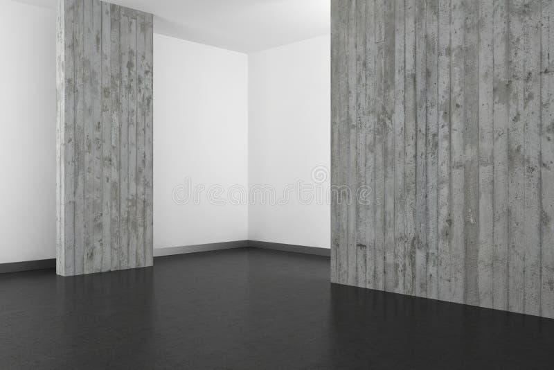 Empty modern bathroom with concrete wall and dark floor royalty free illustration