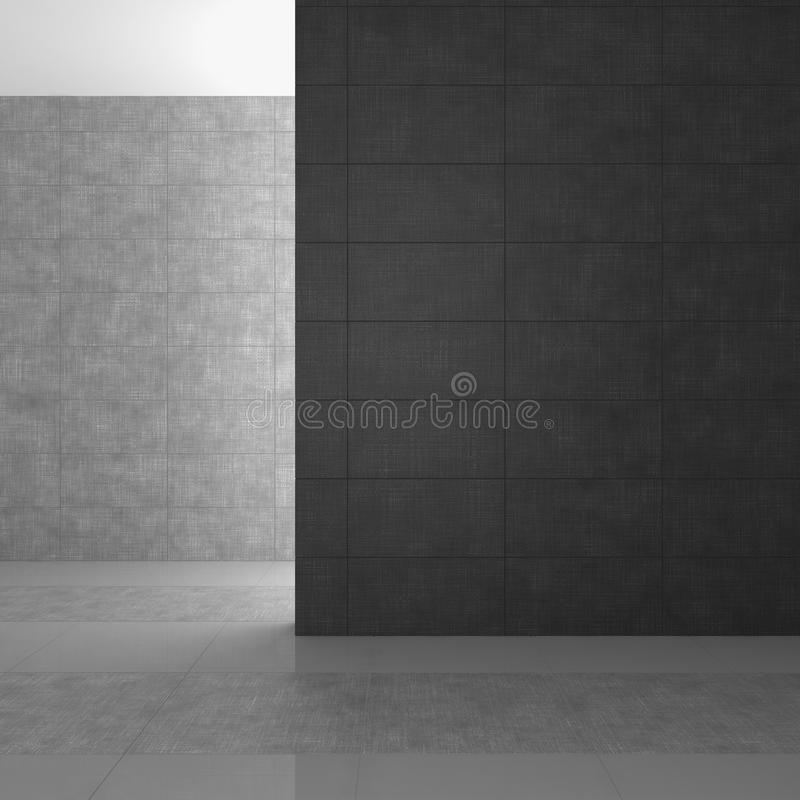 Empty modern bathroom with gray tiles. Empty modern bathroom with dark gray tiles stock illustration