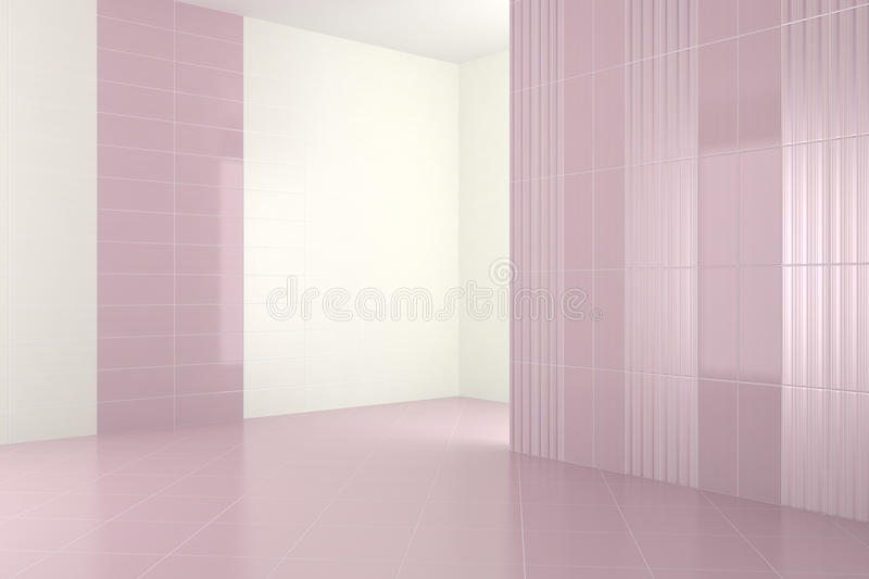 Empty modern bathroom with purple tiles. 3d render royalty free illustration