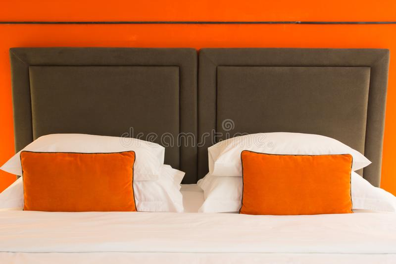 Empty modern bed royalty free stock photos
