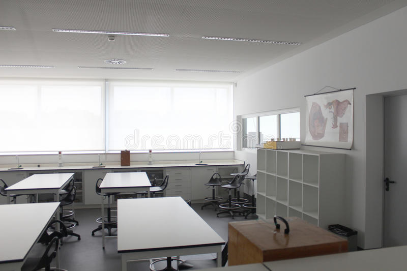 Empty modern classroom in school stock photo