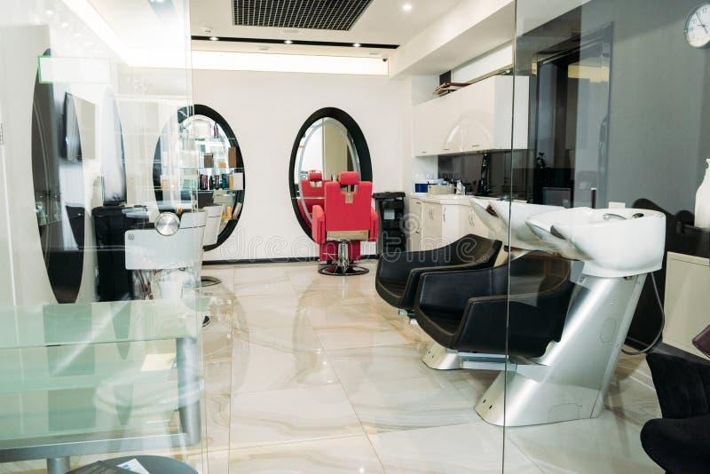 empty modern hair salon royalty free stock photo