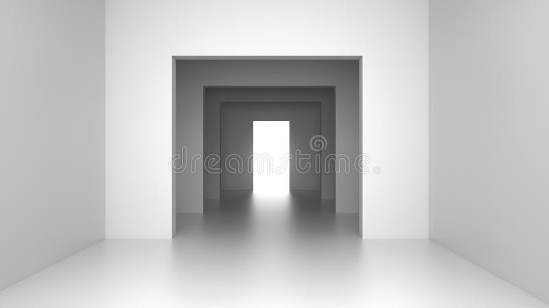 Empty modern interior with bright light from exit door. 3D rendering. stock illustration