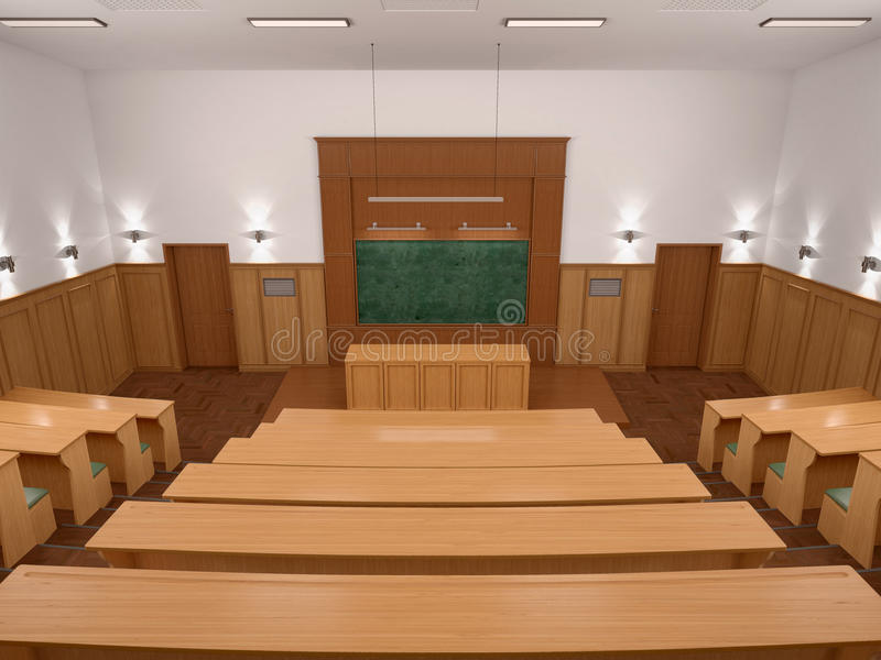 An empty modern lecture style university classroom. 3d illustratiuon royalty free stock image