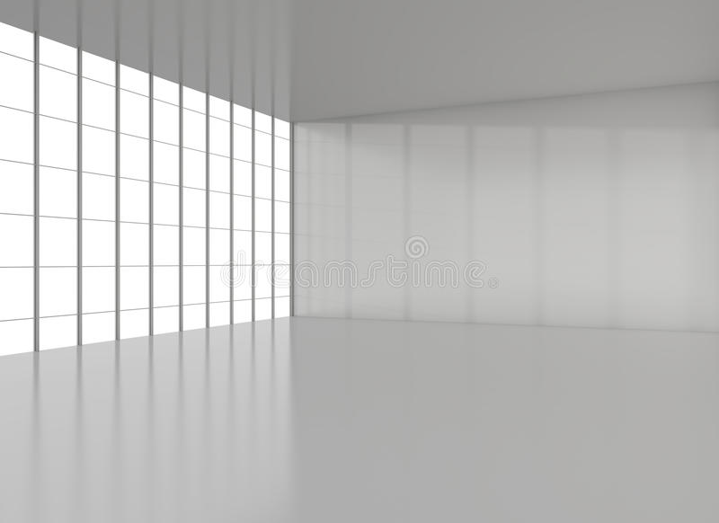 Empty modern loft with floor, ceiling and window stock photo