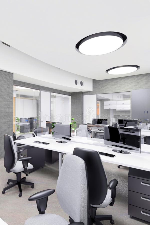 Empty modern office interior work place royalty free illustration