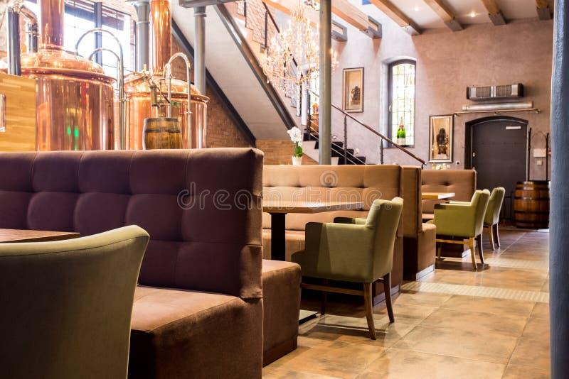 Empty modern restaurant interior stock image