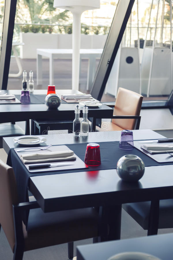 Empty modern restaurant. Modern restaurant with summer balcony stock image