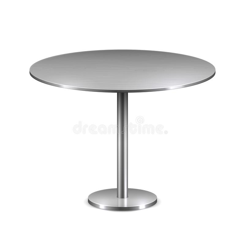 Empty modern round table with metal stand isolated on white background. Vector template for restaurant interior vector illustration