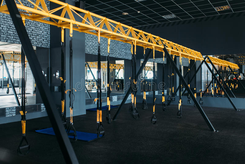 Empty modern sport center. Gym nobody royalty free stock photography
