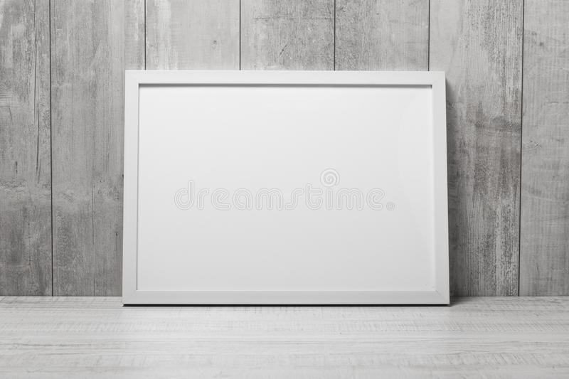 Empty modern style frame on wall stock photo
