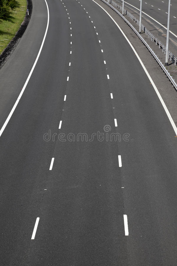 Empty motorway lanes stock image