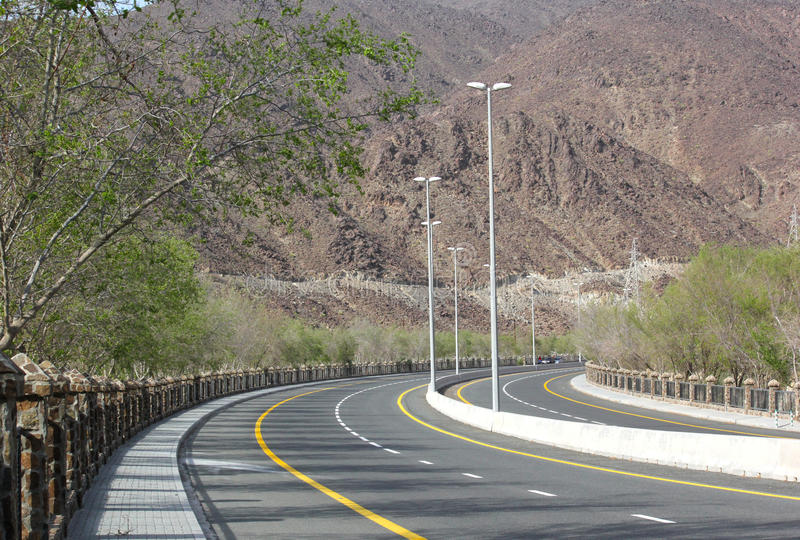 Empty mountain road of kalba road Fujairah, UAE. Empty mountain road of kalba Fujairah, UAE royalty free stock images