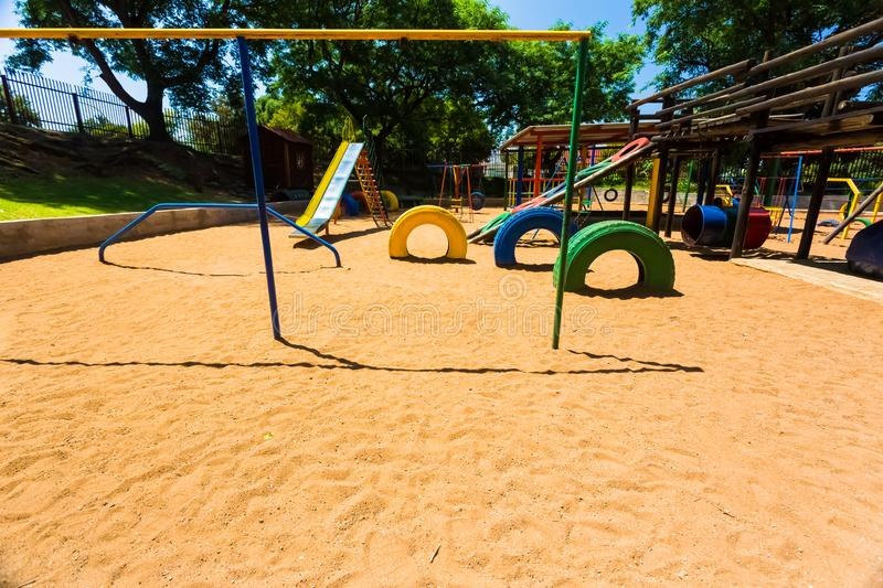 Empty multi Color Preschool Playground. Newcastle, South Africa - February 12 2015: Empty Colorful Preschool Playground royalty free stock photos