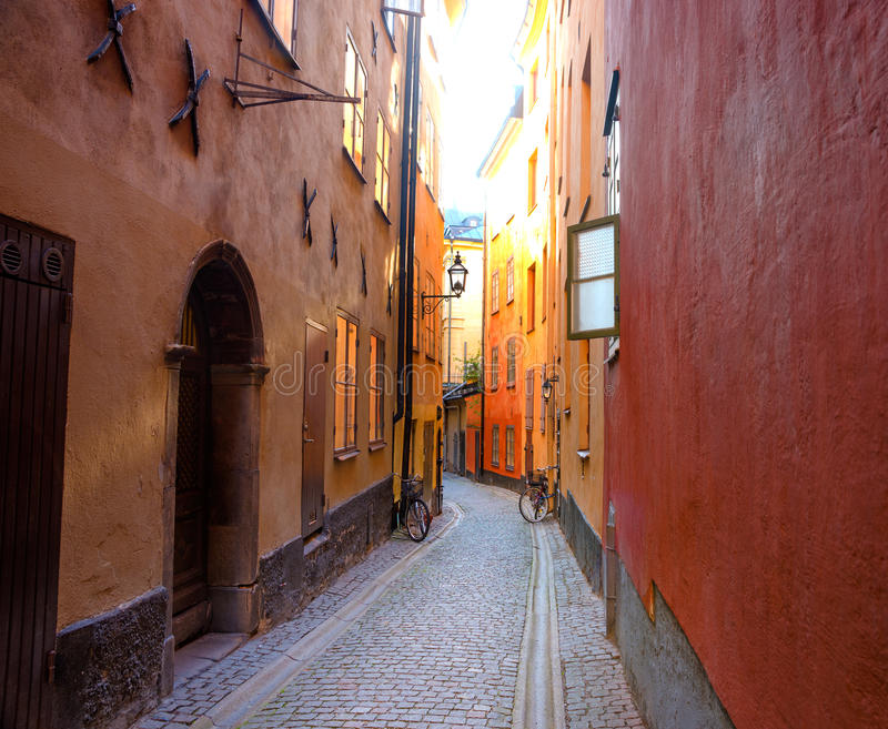 Empty narrow street in the Old Town of Stockholm stock images
