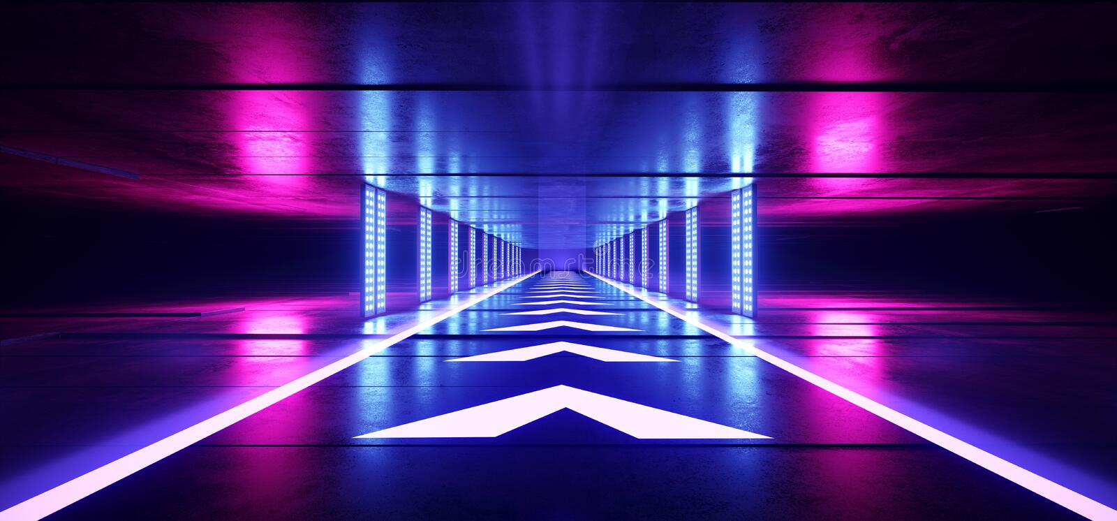 Empty Neon Fluorescent Lights Purple Sci Fi Futuristic Dark Alien Spaceship Hall Tunnel Corridor Led Laser Arrow Shaped Floor vector illustration