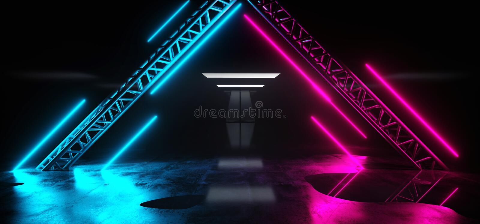 Empty Neon Studio Construction Triangle Vibrant Sci Fi Wet Stage Dance Lights Glowing Purple Blue Pink Reflecting On Grunge. Concrete Big White Glowing Lights stock illustration