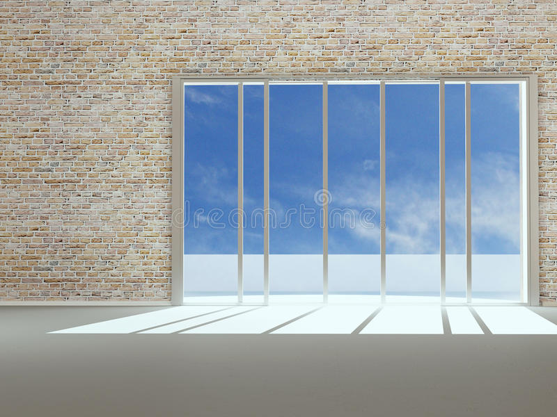 Download Empty New Apartment With Big Window Stock Image - Image: 22990741