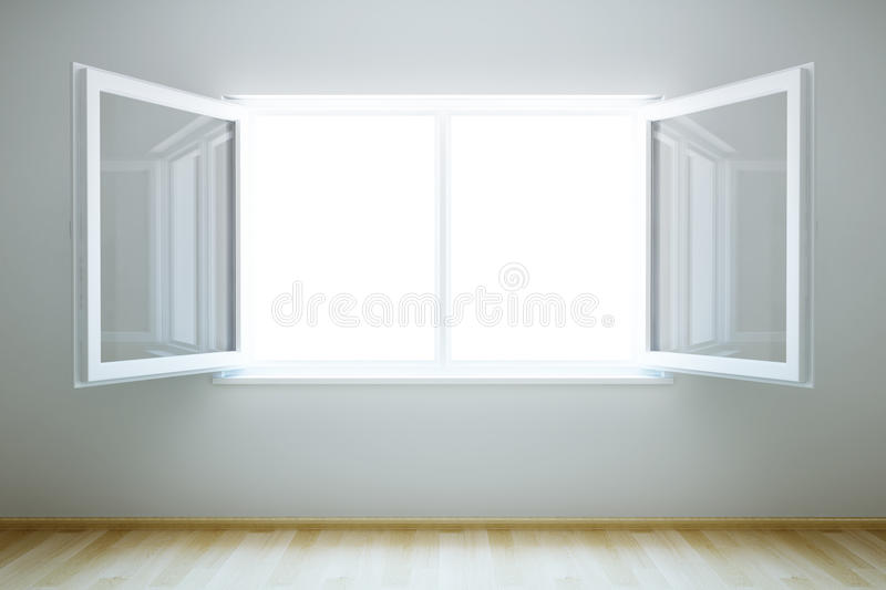 Empty new room with open window stock illustration