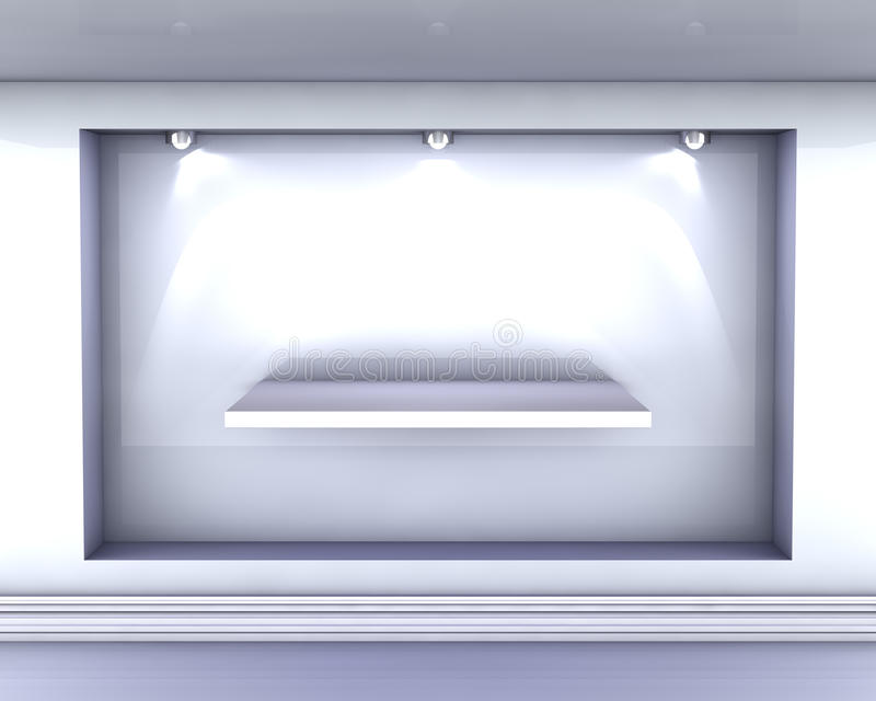 Download Empty Niche With Shelf And Spotlights For Exhibit Stock Illustration - Image: 24464613