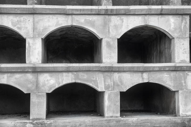 Empty niches. Old empty stone niches on at cemetry royalty free stock photography