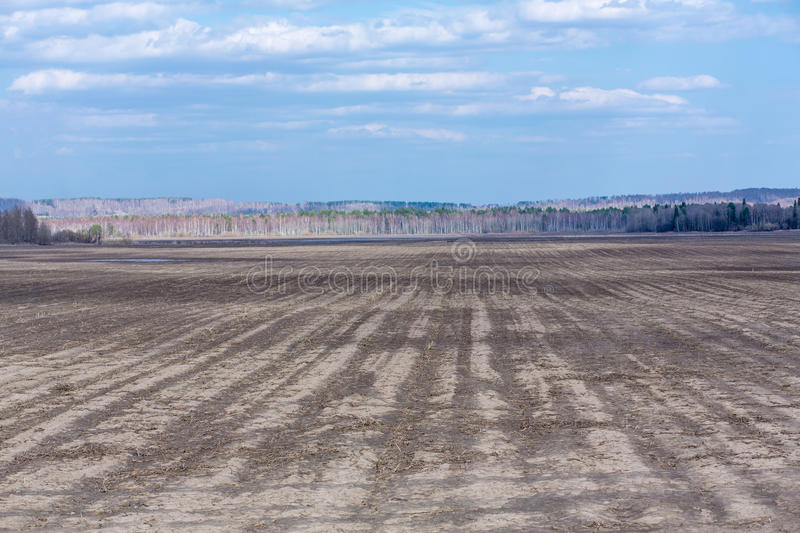 Empty not plowed field after winter. Empty field after winter before plowing royalty free stock photography