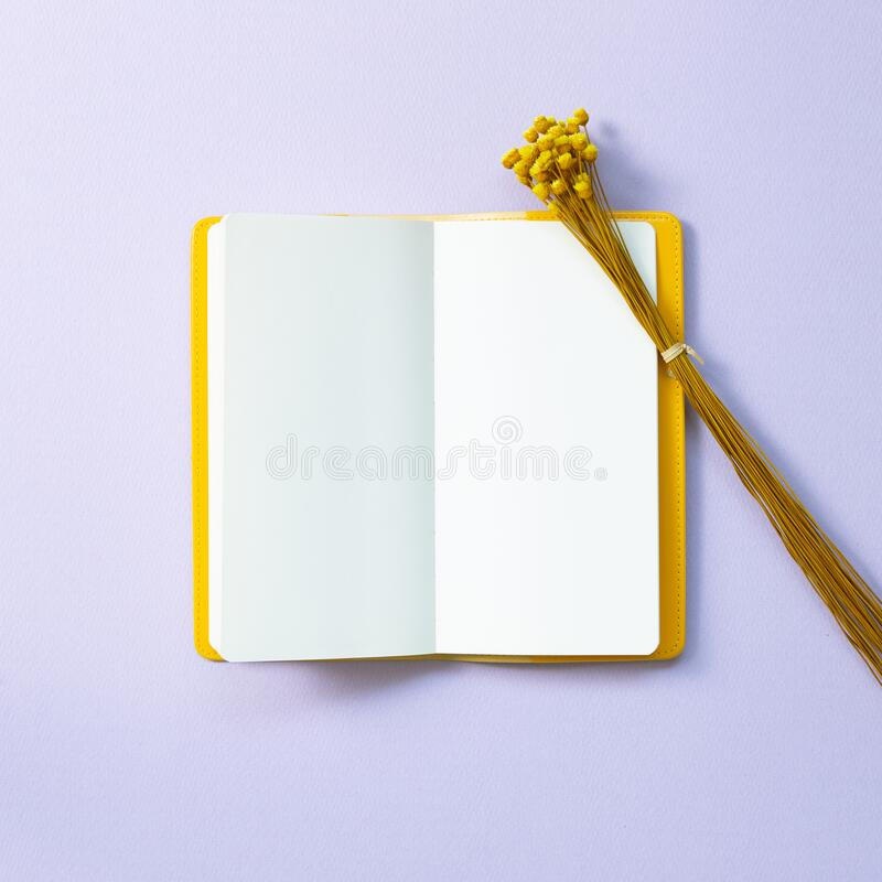 Empty note book with floral decoration. Flat lay, top view, copy space royalty free stock image