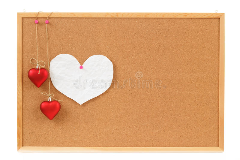 Empty Note For Heart Valentine Message On Cork Board Stock Photos
