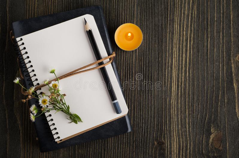 Empty notebook with wild flowers. Open empty notebook with wild flowers and lit candle royalty free stock images