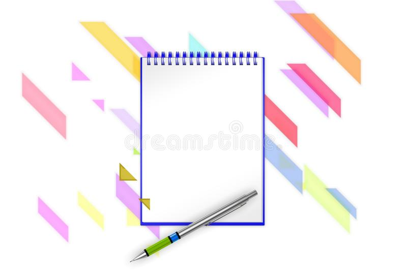 Empty notepad with violet diagonal lines, triangles and diagonal blocks on background to add any text. 3d illustration vector illustration