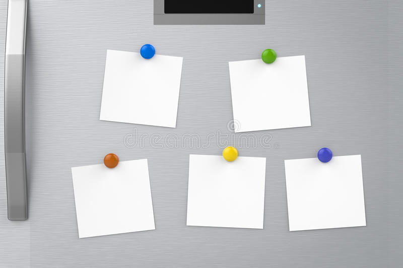Empty notes on refrigerator royalty free stock image