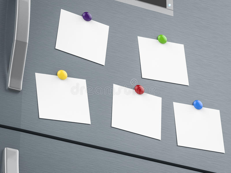 Empty notes on refrigerator. 3d rendering empty notes on refrigerator royalty free stock photo