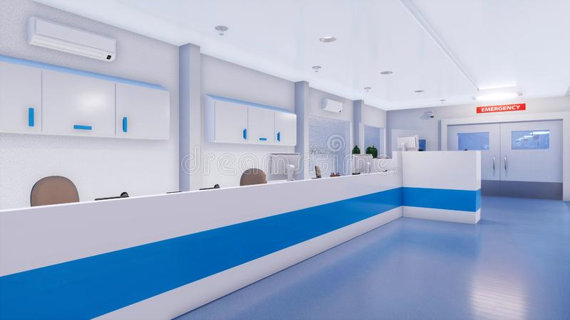Empty nurses station in hospital emergency room. Empty nurses station in bright and clean emergency room interior of modern hospital. With no people 3D royalty free illustration