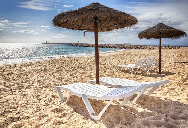 Empty ocean beach. Portugal, November stock photo
