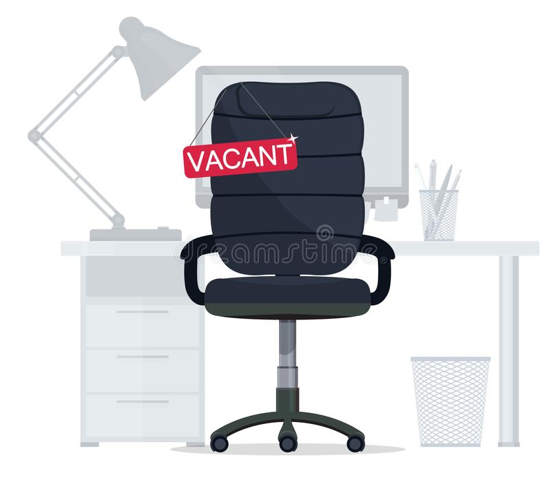 Empty Office chair with vacant sign. Employment, vacancy and hiring job. Vector stock illustration