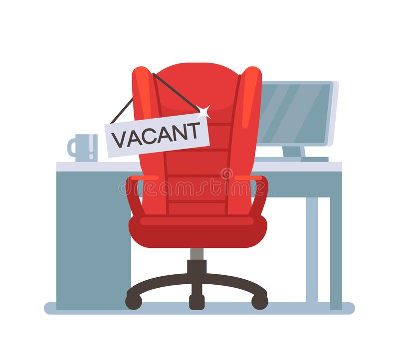 Empty office chair with vacant sign. Employment, vacancy and hiring job vector concept royalty free illustration