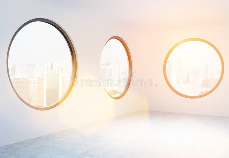 Empty office with circular windows stock illustration