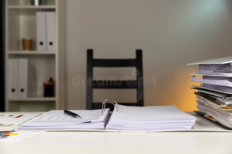 Empty office with colorful wall and folders on table. An Empty office with colorful wall and folders on table royalty free stock images