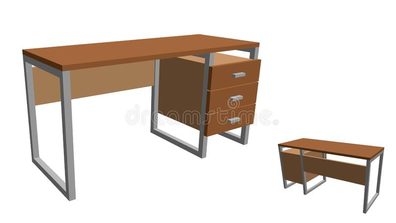 Empty office desk. Isolated on white background. 3d Vector illus vector illustration