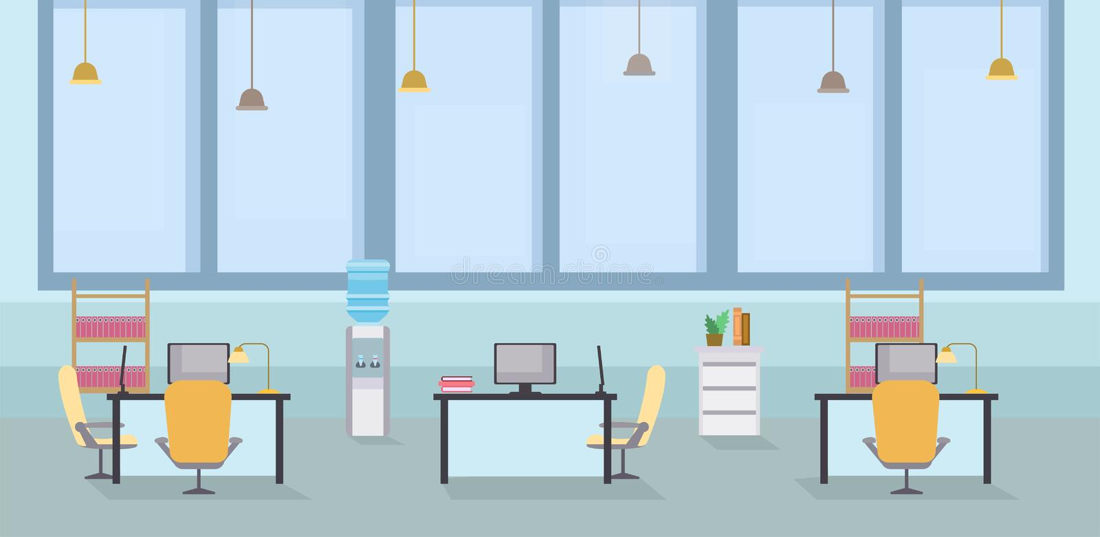 Empty office interior cartoon vector illustration. Coworking open space, tables with chairs in workplace, computer royalty free illustration