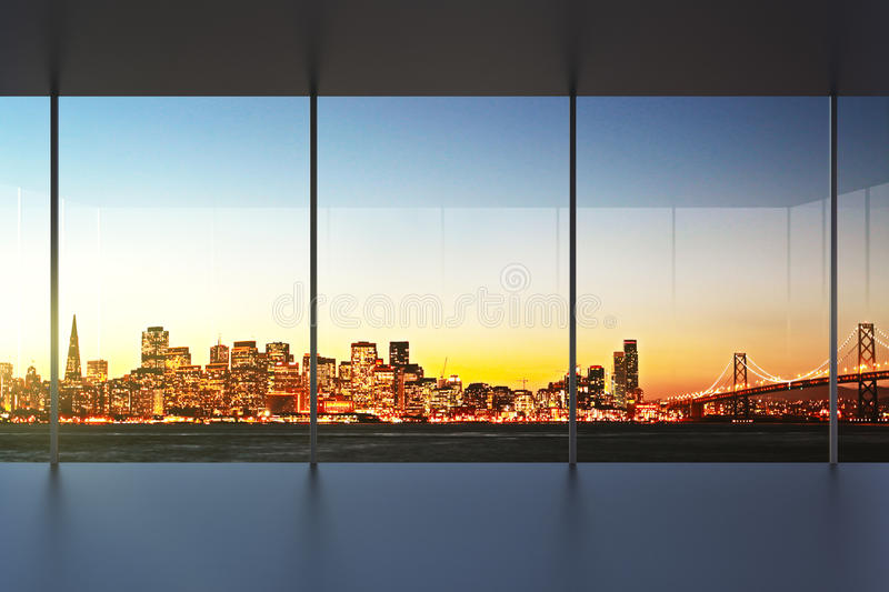 Empty office interior at sunset with beautiful view. Close up royalty free stock photos