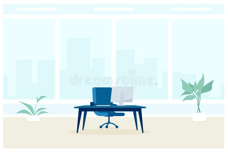 Empty office room with big window vector illustration