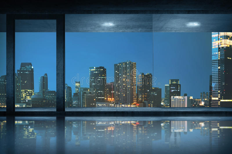 Empty office room with view of the city royalty free stock images