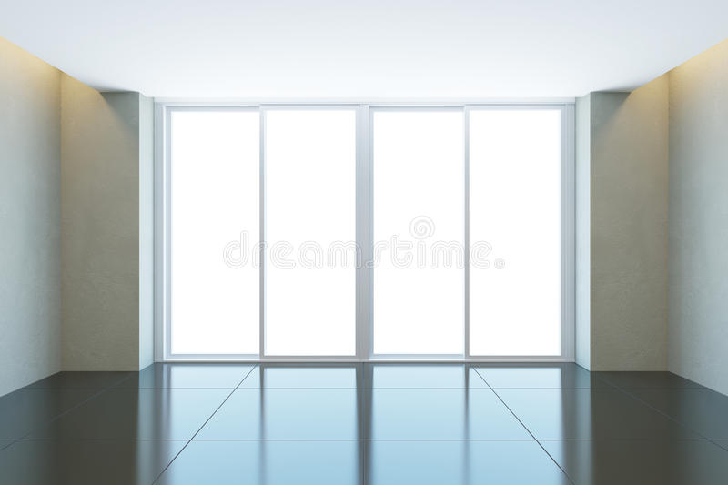 Empty office room with window stock illustration