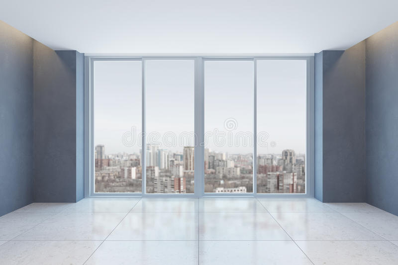 Empty office room with window vector illustration