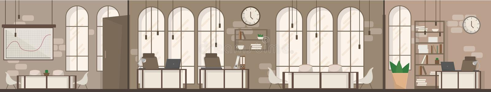 Empty Office Space Interior Modern Workplace Space Flat Vector Illustration vector illustration