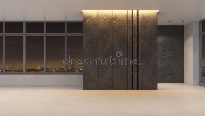 Empty office space at nigh lighting vector illustration