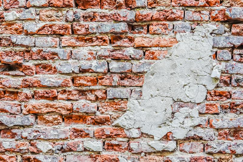 Empty Old Brick Wall Texture. Painted Distressed Wall Surface. Grungy Wide Brickwall. Grunge Red Stonewall Background. stock photo