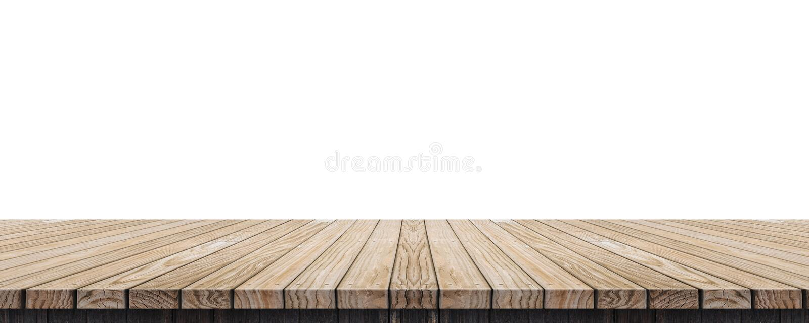 Empty old grunge wood plank table top isolated on white background,Use for display for montage of product and leave space for rep royalty free stock photo