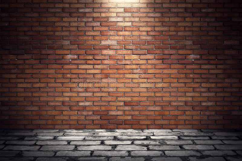 Empty old grungy room with red brick wall and paving stone floor. 3d rendering illustration of underground showroom vector illustration